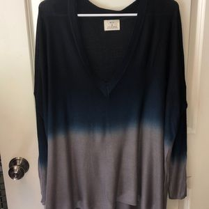 Pins and Needles thin sweater navy fade to gray